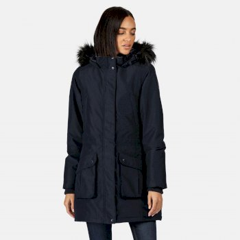 Women's Sefarina Waterproof Insulated Fur Trimmed Hooded Parka Jacket Navy