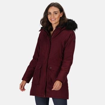 Kimberley Walsh Sefarina Waterproof Insulated Fur Trimmed Hooded Parka Jacket Dark Burgundy