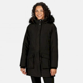 Women's Sefarina Waterproof Insulated Fur Trimmed Hooded Parka Jacket Black