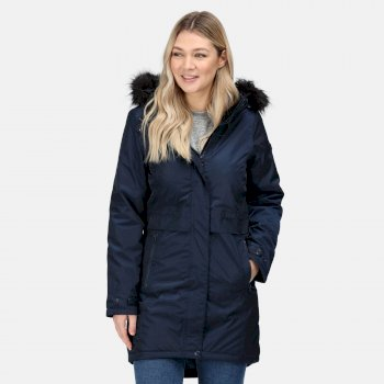 Women's Lexis Waterproof Insulated Fur Trimmed Hooded Parka Jacket Navy