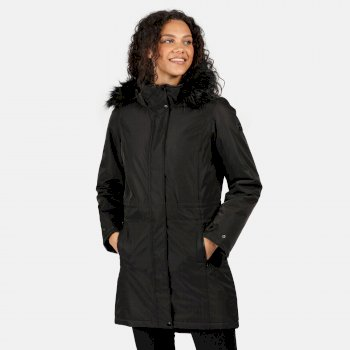 Women's Lexis Waterproof Insulated Fur Trimmed Hooded Parka Jacket Black