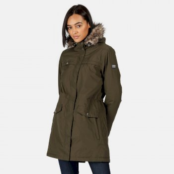 Women's Serleena II Waterproof Insulated Fur Trimmed Hooded Parka Jacket Dark Khaki