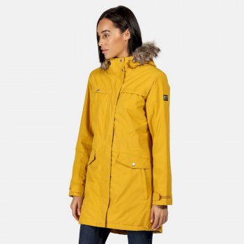 Women's Serleena II Waterproof Insulated Fur Trimmed Hooded Parka Jacket Mustard Seed