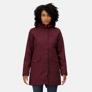 Women's Serleena II Waterproof Insulated Fur Trimmed Hooded Parka Jacket Dark Burgundy