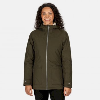 Women's Bergonia II Waterproof Insulated Hooded Jacket Dark Khaki