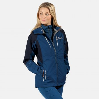 Women's Carletta V 3 In 1 Waterproof Hooded Walking Jacket Blue Opal Navy