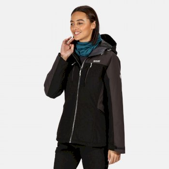 Women's Highton Stretch Waterproof Insulated Padded Walking Jacket Black Ash