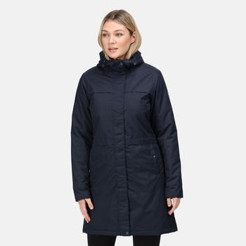 Damski płaszcz zimowy Remina granatowy