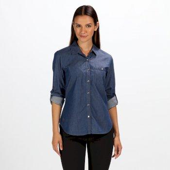 Granatowa koszula z długim rękawem damska Maladee