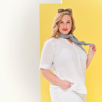 Women's Maelie Long Length Half Button Shirt White
