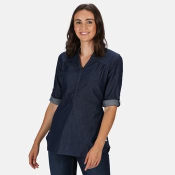 Women's Maelie Long Length Half Button Shirt Chambray