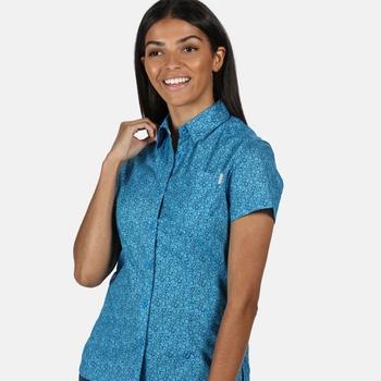 Women's Honshu IV Printed Short Sleeved Shirt Blue Aster