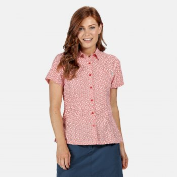 Women's Mindano V Short Sleeved Shirt Red Sky Print