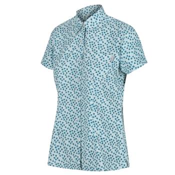 Women's Mindano V Short Sleeved Shirt Cool Aqua Edelweiss