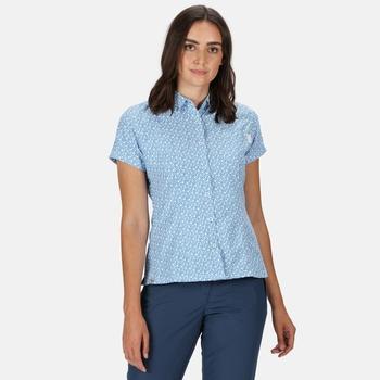 Women's Mindano V Short Sleeved Shirt Blue Aster Print