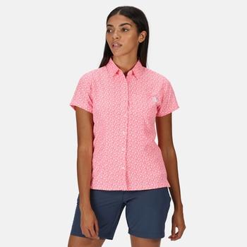 Women's Mindano V Short Sleeved Shirt Neon Pink Print