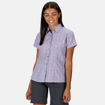 Women's Mindano V Short Sleeved Shirt Lilac Bloom Checl