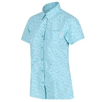 Women's Mindano V Short Sleeved Shirt Cool Aqua Petal