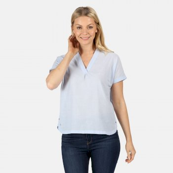 Women's Jacinda Coolweave V-Neck Top Blue Skies