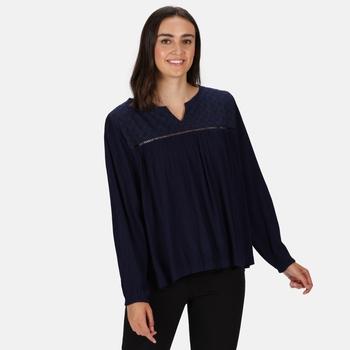 Women's Calixta Long Sleeved Broiderie Shirt Navy