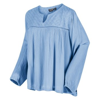 Women's Calixta Long Sleeved Broiderie Shirt Blueskies