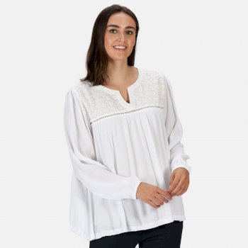 Women's Calixta Long Sleeved Broiderie Shirt White