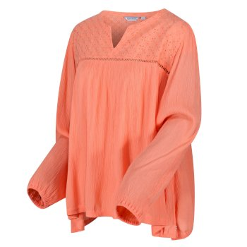 Women's Calixta Long Sleeved Broiderie Shirt Fusion Coral