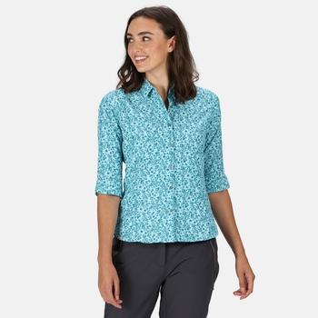 Women's Nimis III 3/4 Length Sleeved Shirt Cool Aqua Floral