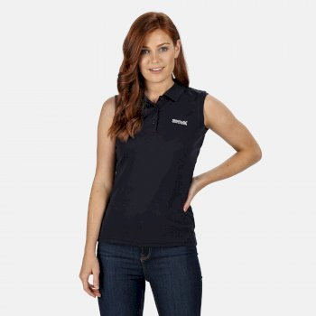 Women's Tima Ribbed Collar Pique Vest Navy