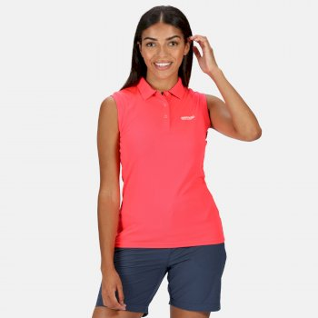 Women's Tima Ribbed Collar Pique Vest Neon Pink