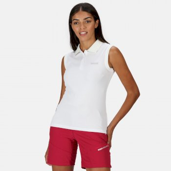Women's Tima Ribbed Collar Pique Vest White