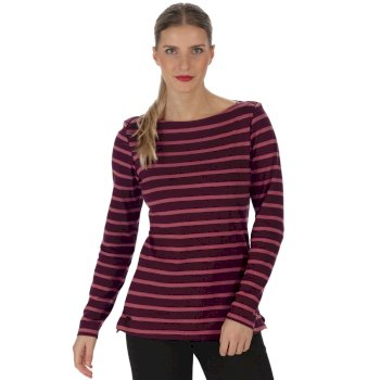 Fayola Long Sleeved Striped Coolweave Cotton T-Shirt Fig