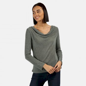 Women's Frayda Lightweight Cowl Neck Top Balsam Green