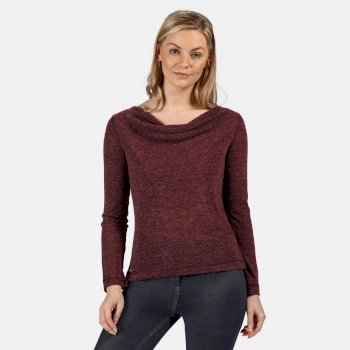 Kimberley Walsh Frayda Lightweight Cowl Neck Top Dark Burgundy