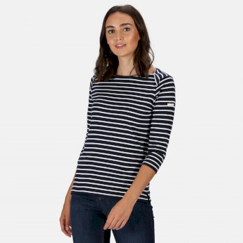 Women's Polina Printed Long Sleeved T-Shirt Navy Stripe