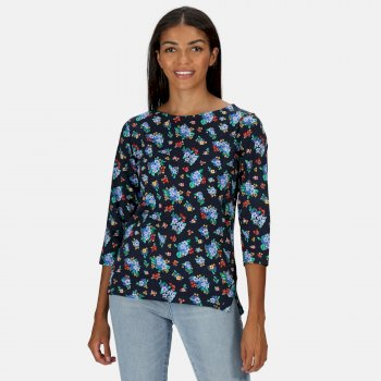 Women's Polina Printed Long Sleeved T-Shirt Navy Floral