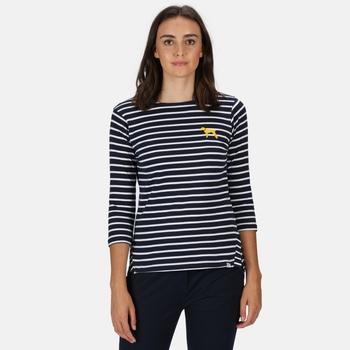 Women's Polina Printed Long Sleeved T-Shirt Navy White Stripe