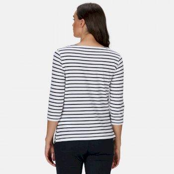 Women's Polina Printed Long Sleeved T-Shirt White Navy Stripe