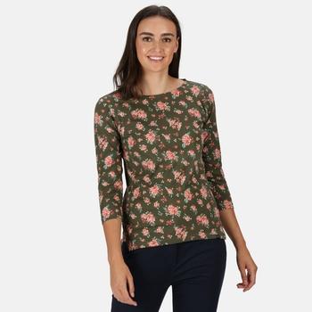 Women's Polina Printed Long Sleeved T-Shirt Grape Leaf Floral