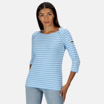 Women's Polina Printed Long Sleeved T-Shirt Blue Skies Stripe
