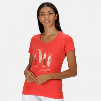 Women's Filandra IV Graphic T-Shirt Red Sky Feather Print