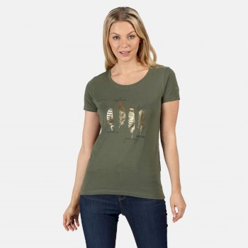 Women's Filandra IV Graphic T-Shirt Thyme Leaf Feather Print