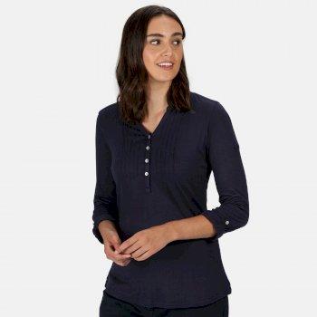 Women's Fflur Long Sleeved Half Button Top Navy