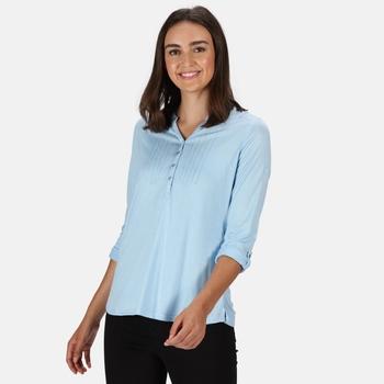 Women's Fflur Long Sleeved Half Button Top Blue Skies