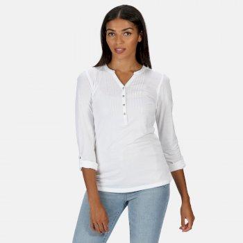 Women's Fflur Long Sleeved Half Button Top White