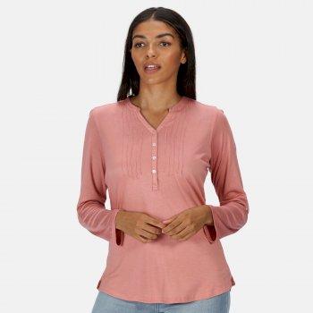Women's Fflur Long Sleeved Half Button Top Chalk Blush