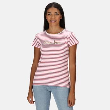 Women's Olwyn Striped Carpe Diem T-Shirt True Red