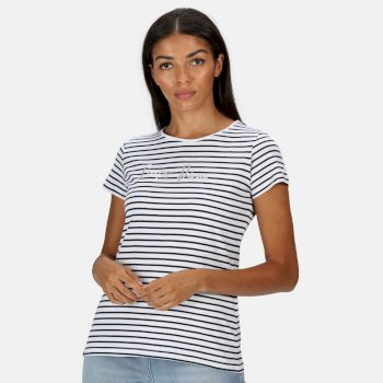 Women's Olwyn Striped Carpe Diem T-Shirt Navy