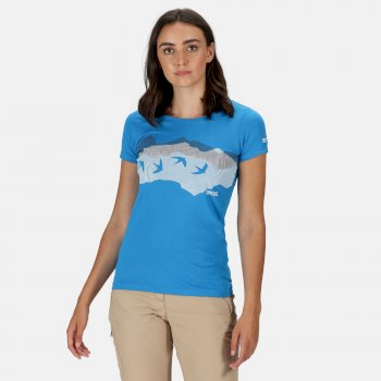 Women's Breezed Graphic T-Shirt Blue Aster