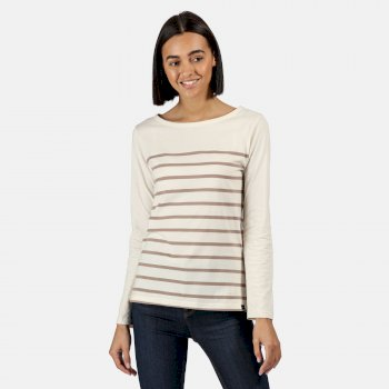 Kimberley Walsh Ferelith Striped Long Sleeved T-Shirt Light Vanilla